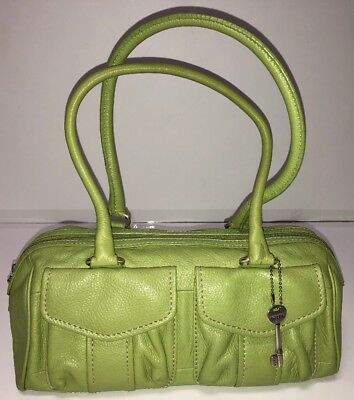 17e370b1e4b2ad Details about FOSSIL Green SOFT PEBBLED LEATHER Shoulder BAG Purse Bag  Pockets Silver Key