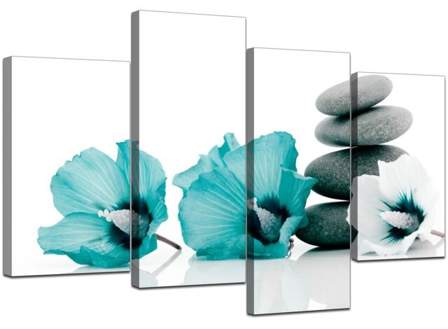 Large Teal Flower Floral Canvas Wall Art Pictures 130cm Set XL 4072