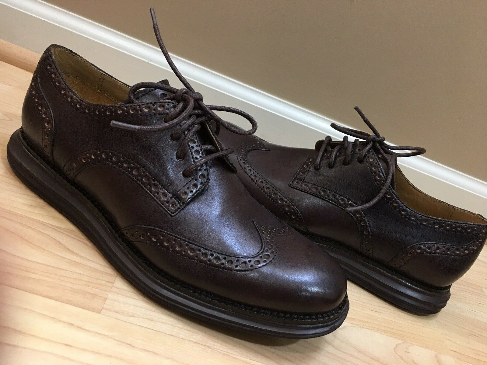 NEW NEW NEW COLE HAAN C12598 LUNARGRAND WINGTIP OXFORD DARK BROWN LEATHER 9 M AUTHENTIC 7acf7f