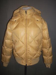 Large Jacket Italian Breach Down Gold Womens Sz L Winter Hoodie Puffer Import F1q1tRw
