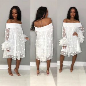 5094d78191 Details about Women off shoulder Pineapple sleeves casual club party loose  mini white dress