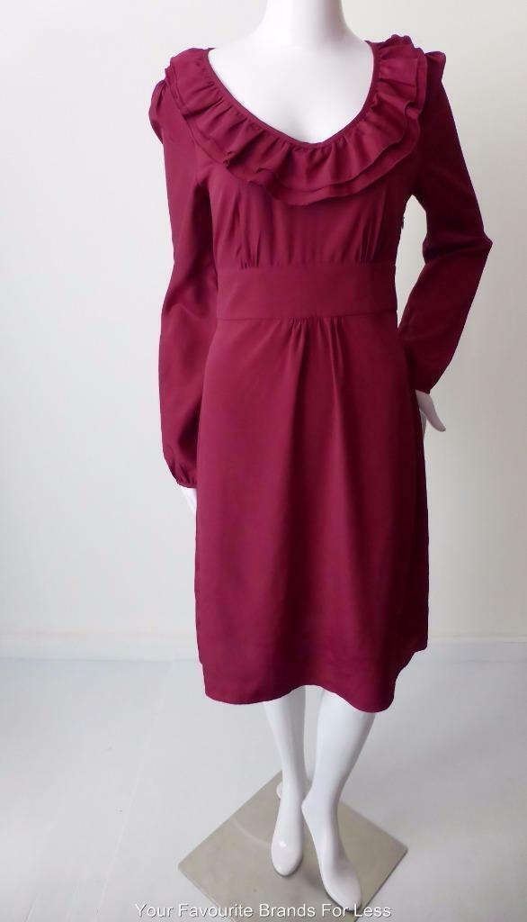 DIANA FERRARI - NEW - Size 10 US 6  Long Sleeve Ruffled Shift Dress