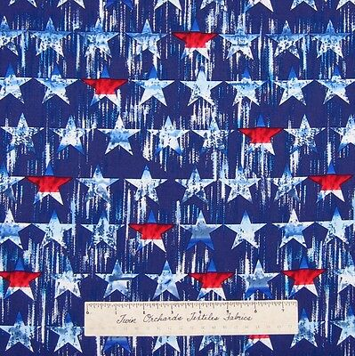 Timeless Treasures YARD Red White Blue Stars on Navy C9013 Patriotic Fabric