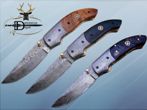 7.5  Damascus steel folding knife W Leather sheath, available in 3 scales