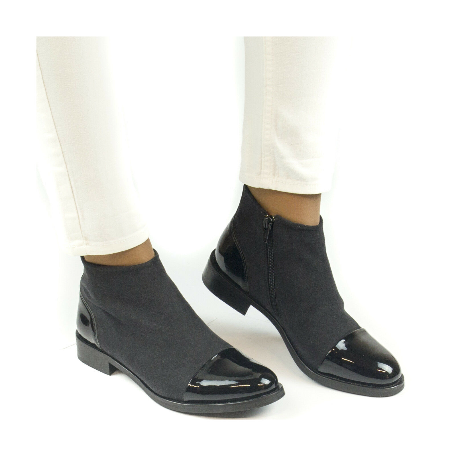 Woman vegan ankle boots with zipper, ecological ecological ecological and water resistant 6f4367