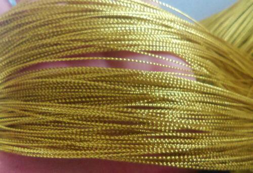 100mtr Oro Metálico Cuerda Macramé Kumihimo fabricación de joyas 0.8 mm de espesor