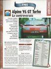 FICHE AUTOMOBILE ALPINE V6 GT TURBO 1985