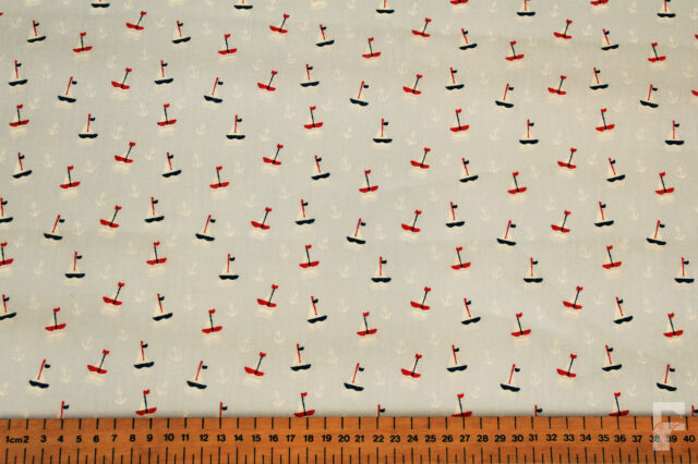 100% COTTON NOVELTY PRINTS - SAILING BOATS & ANCHORS - WIDE WIDTH