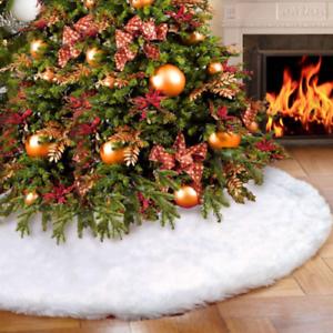 90cm-Christmas-Tree-Skirt-Base-Floor-Mat-Cover-Decor-Long-Plush-Snow-Flake