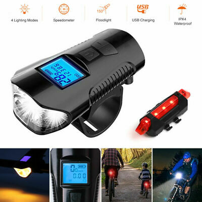 Speedometer Bike Head Light USB Rechargeable Bicycle LED Front Rear Fog Lamp Set
