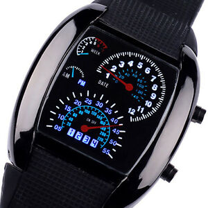 New Sports Rpm Turbo Blue Flash Led Sports Car Speed Meter Dial Mens