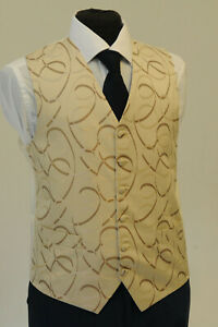 Amical W1125. Homme/garçons Ivoire Et Coffeeswirl Gilet/robe/suit/fête/formel-afficher Le Titre D'origine Demande DéPassant L'Offre