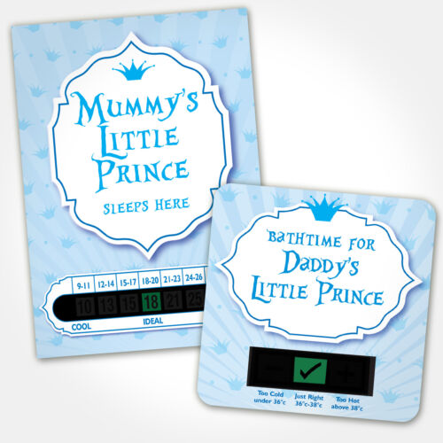 BABY BATH /& ROOM THERMOMETER MUMMY AND DADDYS LITTLE PRINCE SET