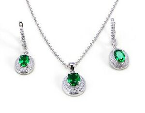 Details about 1920s Style 925 Sterling Silver Set Simulated Emeralds  Brilliant White Diamonds