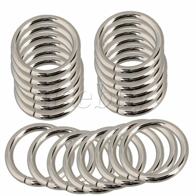 20 Pieces 25m Metal O Ring Non Welded for Ribbon Webbing Belt Buckle Bag