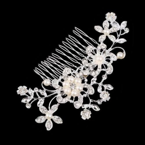 Bridal Wedding Flower Side Hair Pin Crystal Rhinestone Leaf Hair Comb Clip Tiara