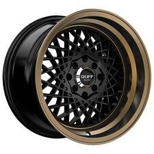 4-NEW Ruff R362 15x8.5 4x100/4x114.3 +17mm Black/Bronze Wheels Rims