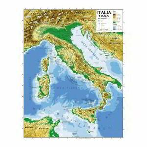 Cartina Fisica E Politica.Cartina Geografica Murale Italia 100 X 140 Cm Fisica E Politica Plastificata Ebay