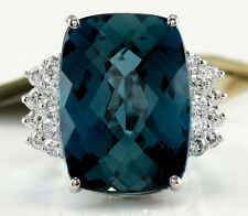 Estate 33.40 Carats Natural LONDON BLUE TOPAZ and Diamond 14K White Gold Ring