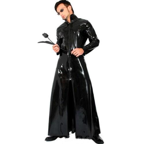 Neo The Matrix Long Coat Cyber Mens Fancy Dress Wetlook Outfit Halloween Costume