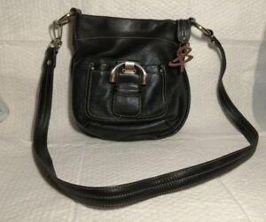Image Is Loading B Makowsky Black Pebbled Leather Shoulder Crossbody Handbag