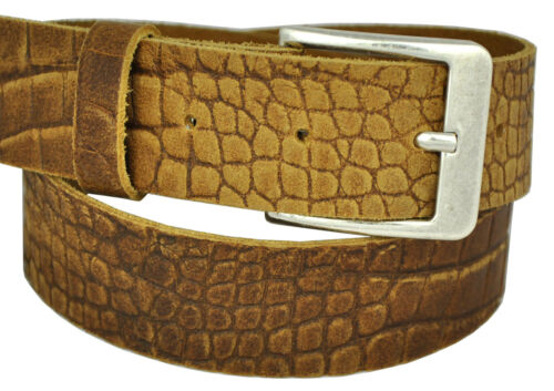 22 Farben /& 12 Längen Wählbar 4cm Echt Leder Guertel Nickel Free Scshnalle 401A