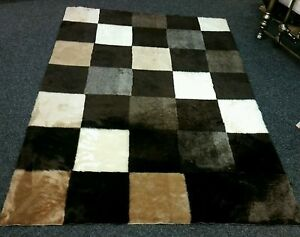 Image Is Loading Brown Beige Cream Checked Square Faux Fur Soft