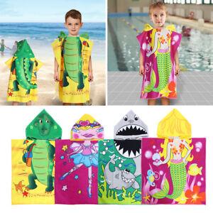 Hot-US-Children-039-s-Cartoon-Hooded-Beach-Bath-Towel-Swim-Pool-Cover-up-Poncho-Cape