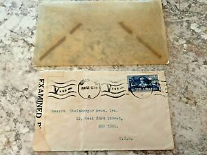 Vintage-Postage-Envelope-1942-Examined-to-New-York-City-Rare-Marks-Stamps