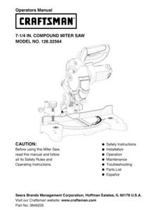 image is loading craftsman-126-32564-miter-saw-owners-instruction-manual