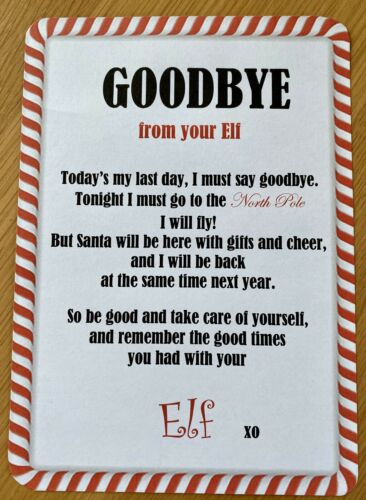 Christmas Elf Letter Arrival Goodbye Personalised From North Pole