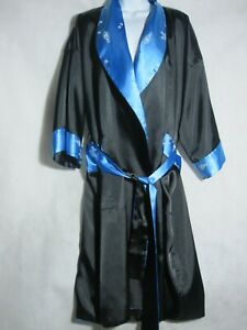Black Satin Japanese Embroidered Robe Vintage Blue Womens Reversible Kimono Robe