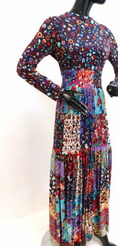 Vintage 1970s patchwork floral maxi dress