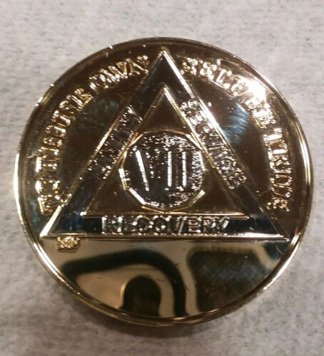 7 YEAR AA GOLD//SILVER Tone Bi-Plated Alcoholics Anonymous CHIP COIN MEDALLION