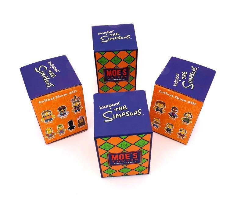 SET OF 4 MOE'S TAVERN BLIND BOX MINI VINYL FIGURES SERIES BY KIDROBOT X SIMPSONS