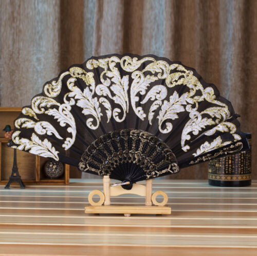 Chinese Style Dance Wedding Party Lace Silk Folding Hand Held Flower Fan Nice