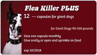 Flea Killer Plus Dogs 90-130 Lbs. 12 Red Capsule Pills, 1 Full Year For 1 Dog