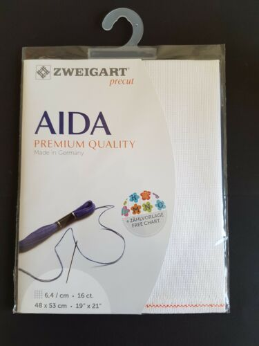 "ZWEIGART 16 COUNT AIDA LARGE PRECUT PIECE 48x53cm 19x21/"" WHITE OR CREAM."