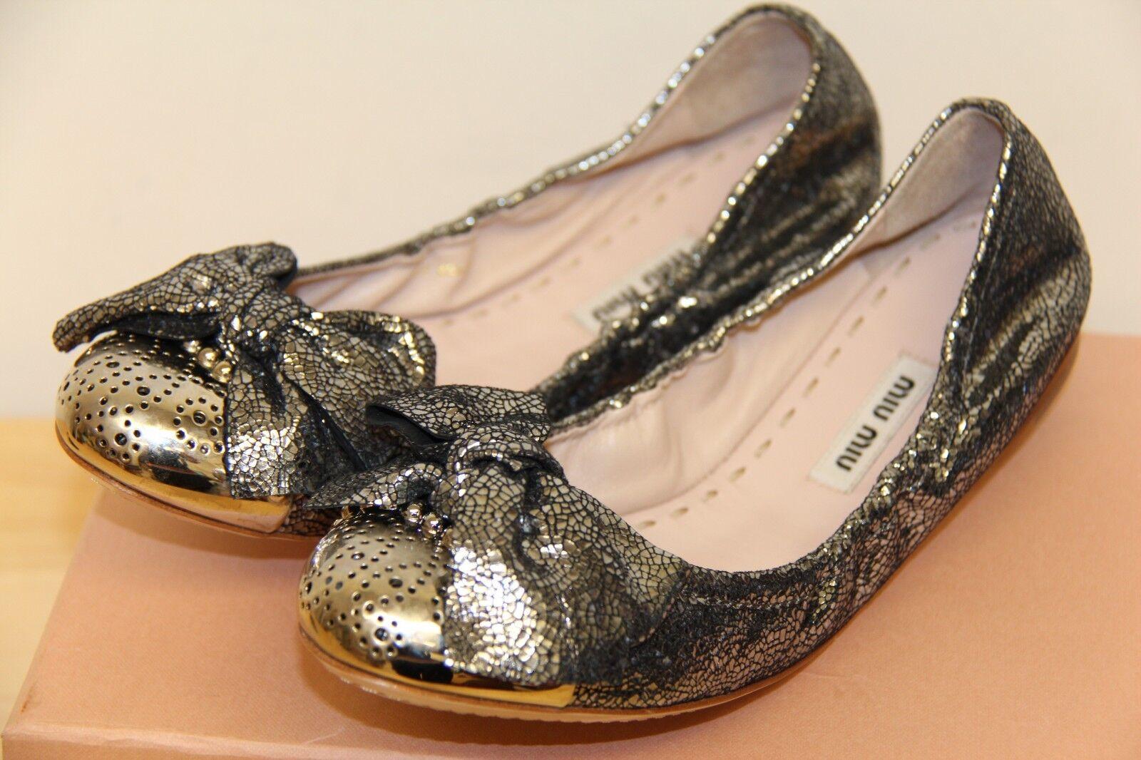 NIB MIU MIU Ballet Leather Flats chaussures argent 38.5  495 Cracle Nizza Piombo
