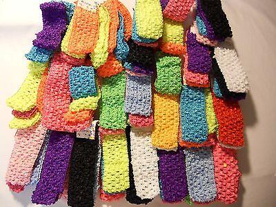 Blue Wholesale Girls Baby Crochet Headband With 1.5 inch Acrylic color