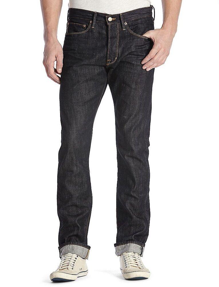 Lucky Brand 121 Kanten Herren Schmal Gerade Jeans Hergestellt in USA 34x32 Neu