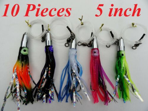 """10 pieces 5/"""" Balle Jet Head truquées Mylar TROLLING FISHING LURES Random Couleurs"""
