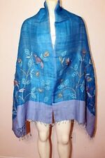 Linen Cotton Blend Hand Embroidered Nakshi Kantha Scarf Stole Wrap Shawl