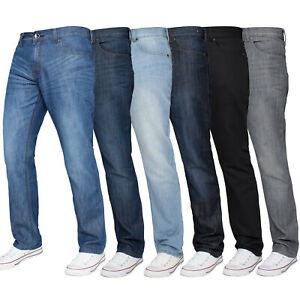 Mens-Regular-Fit-Jeans-Straight-Leg-Denim-Trousers-Kruze-Big-King-All-Waist-Size