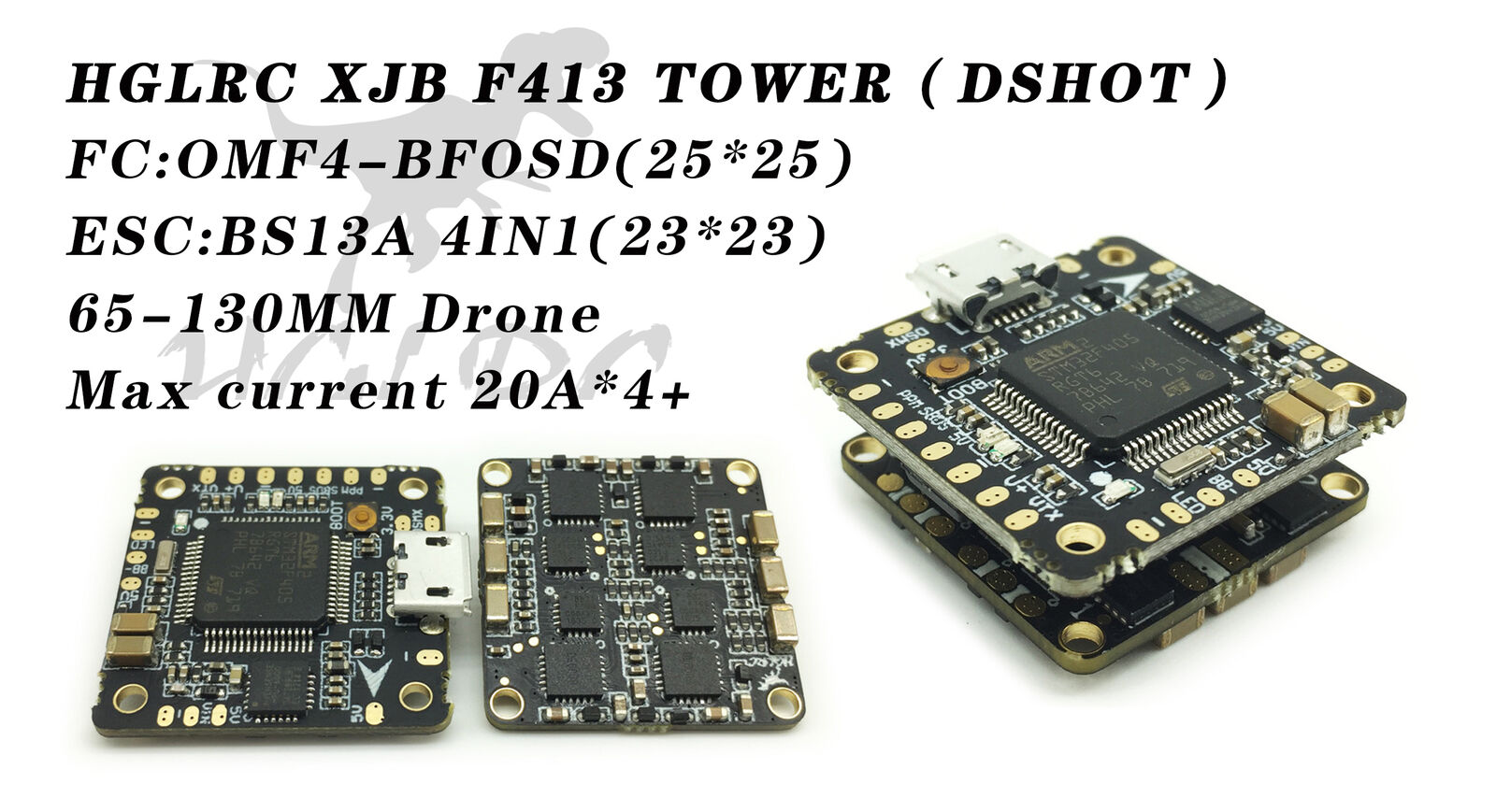 HGLRC XJB F413 DSHOT Flytower F4 Flight Control Tower with 4IN1 BS13A ESC