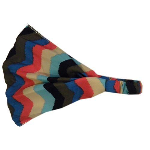 Soft Wide Colorful Chevron Pattern Boho Style Head wrap Yoga  Girls Headwrap