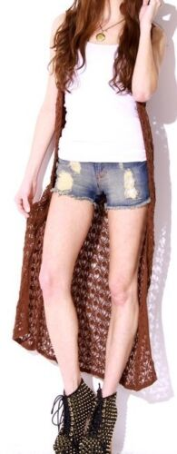 Brown Open Knit Crochet Sleeveless Tunic Maxi Sweater Vest Cardigan Cover-Up