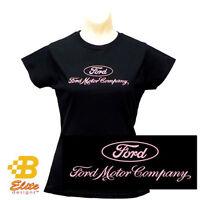 Ladies Ford Motor Company Logo Black Tee Shirt