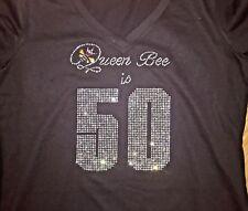 50th Birthday Shirt Fifty Rhinestone Bling T Ladies Tee