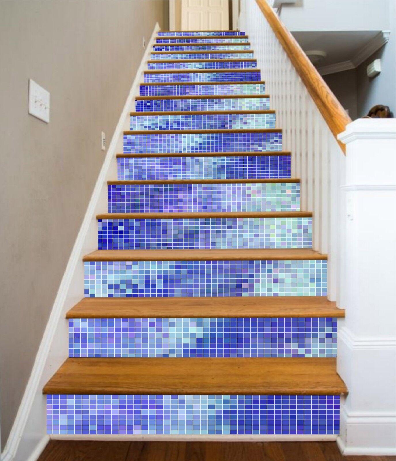 3D Gradient bluee 73 Tile Marble Stair Risers Photo Mural Vinyl Decal Wallpaper